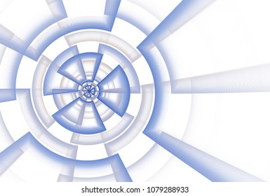 Intricate blue, orange and grey abstract triangle / disc / target design (3D illustration, white background)
