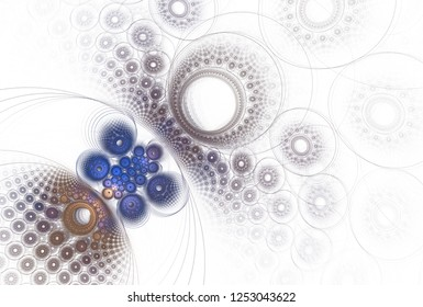 Intricate blue, orange and purple abstract disc / hole design (3D illustration, white background)