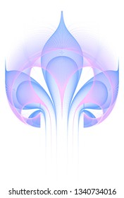 Intricate blue and pink abstract flower design (3D illustration, white background)