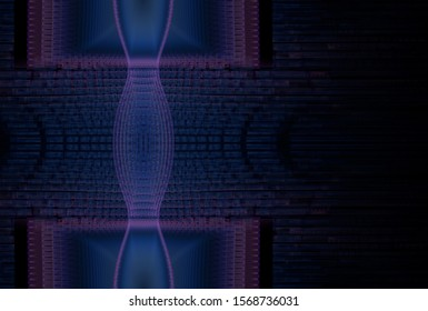Intricate blue and pink abstract ripple design (3D illustration, black background)