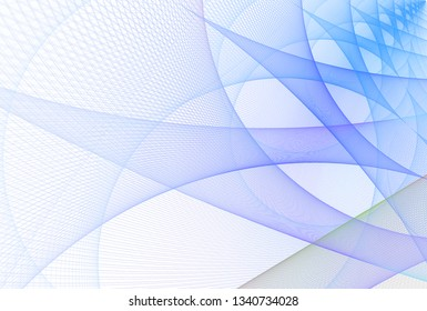 Intricate blue, purple and green intricate woven string curved design (3D illustration, white background)
