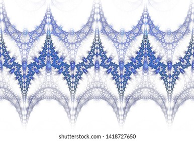 Intricate blue, purple and teal intricate interwoven fractal lace (3D illustration, white background)