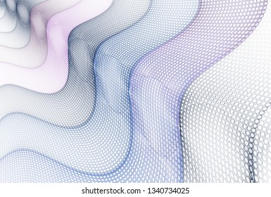 Intricate blue, silver and teal abstract wave / hole fabric design (3D illustration, white background)