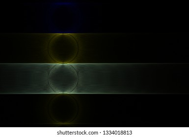 Intricate blue, silver and yellow  abstract string / disc design (3D illustration, black background)