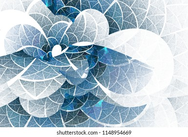 Intricate blue / teal abstract woven curve / leaf design (3D illustration, white background)
