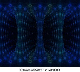 Intricate blue, teal and green intricate light columns (3D illustration, black background)