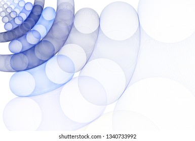Intricate blue, teal and silver abstract moving disc design (3D illustration, white background)