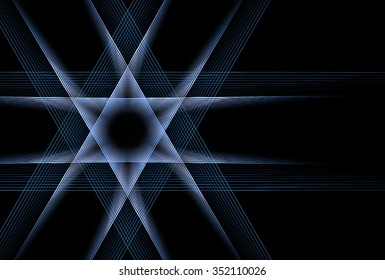 Intricate blue / white abstract woven star of David on black background