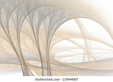 Intricate brown / silver abstract tree fractal on white background