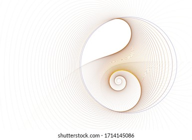 Intricate copper / gold abstract disc / spiral design  (3D illustration, white background)