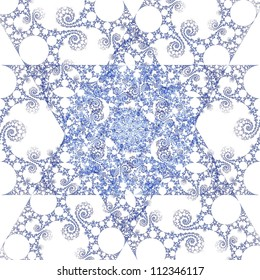 Intricate fractal Star of David on white background