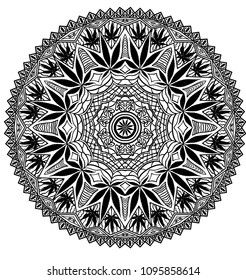Intricate and funky cannabis theme mandala, hand drawn, file organized for easy editing.