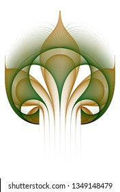 Intricate green and orange abstract flower design (3D illustration, white background)