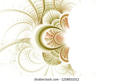 Intricate green and orange / red abstract woven / curved design (3D illustration, white background)