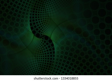 Intricate green, teal and blue woven abstract hole curve design (3D illustration, black background)