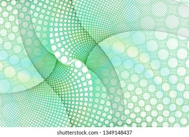 Intricate green, teal and blue woven abstract hole curve design (3D illustration, white background)