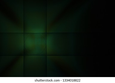 Intricate green and teal woven geometric design (3D illustration, black background)