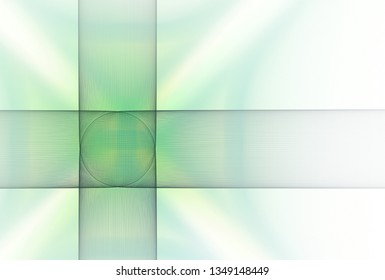Intricate green and teal woven geometric design (3D illustration, white background)