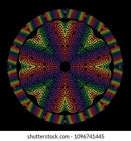 Intricate mandala made with celtic knot design in rainbow colors.