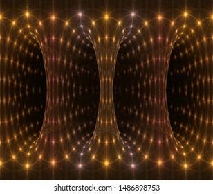 Intricate orange, copper and gold intricate light columns (3D illustration, black background)