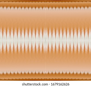 Intricate orange and green abstract spiky frieze design (3D illustration, white background)