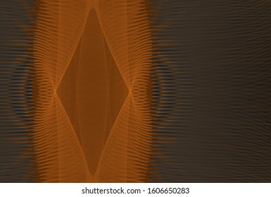 Intricate orange and grey abstract woven diamond ragged strip (3D illustration, black background)