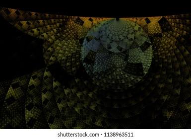 Intricate orange and teal woven disc design (3D illustration, black background)