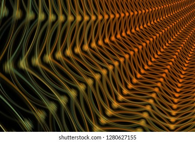 Intricate orange and yellow woven ray design (3D illustration, black background)