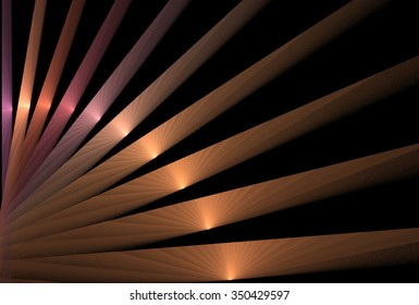 Intricate pink, gold, orange and copper shiny curved strips on black background