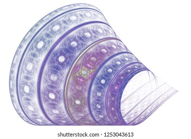Intricate pink, purple and white abstract woven fabric cone (3D illustration, white background)