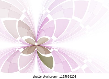 Intricate purple and green abstract leaf / butterfly design (3D illustration, white background)