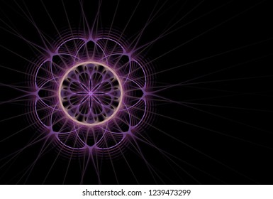 Intricate purple, pink and peach abstract woven flower / star ripple design (3D illustration, black background)