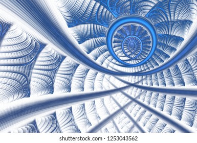 Intricate teal and blue abstract woven / network design (3D illustration, white background)