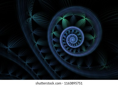 Intricate teal, blue and green abstract fern frond spiral (3D illustration, black background)