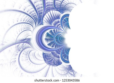 Intricate teal, blue and purple abstract woven / curved design (3D illustration, white background)