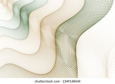 Intricate teal, green, brown and copper abstract wave / hole fabric design (3D illustration, white background)