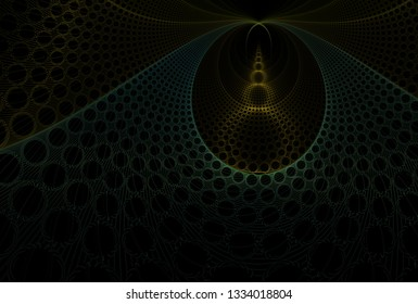 Intricate teal, green and yellow abstract hole / disc design (3D illustration, black background)
