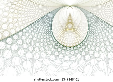 Intricate teal, green and yellow abstract hole / disc design (3D illustration, white background)