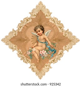 Intricate, vintage Valentine greeting illustration with cupid