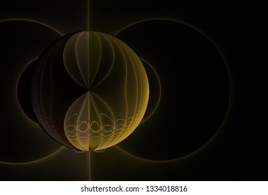 Intricate yellow, beige and brown abstract sphere design (3D illustration, black background)