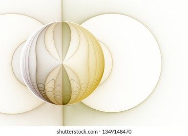 Intricate yellow, beige and brown abstract sphere design (3D illustration, white background)