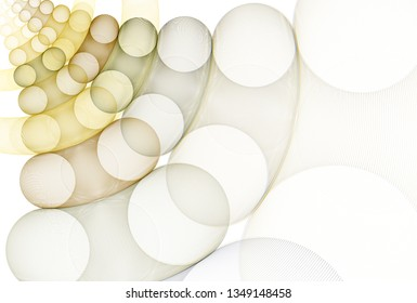 Intricate yellow, brown and tan abstract moving disc design (3D illustration, white background)