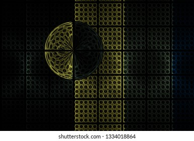 Intricate yellow, green, grey and teal hole tile design (3D illustration, black background)