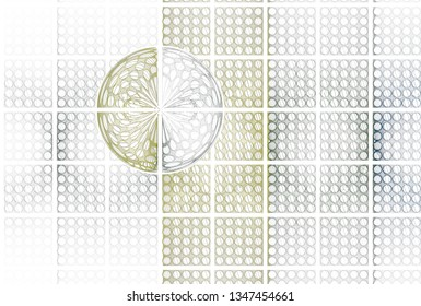 Intricate yellow, green, grey and teal hole tile design (3D illustration, white background)