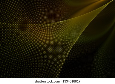 Intricate yellow and orange flowing fabric design (3D illustration, black background)