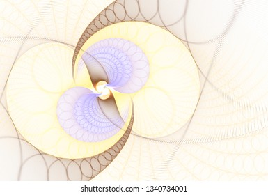 Intricate yellow, orange, gold and silver abstract spinning spiral design (3D illustration, white background)