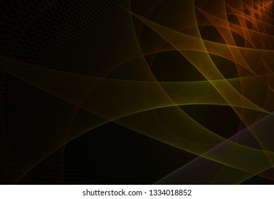 Intricate yellow, orange, purple and green intricate woven string curved design (3D illustration, black background)