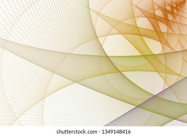 Intricate yellow, orange, purple and green intricate woven string curved design (3D illustration, white background)