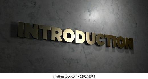 Introduction - Gold text on black background - 3D rendered royalty free stock picture. This image can be used for an online website banner ad or a print postcard.