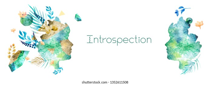 Introspection concept in trendy collage style with watercolor elements. Horizontal banner template with face and floral elements. Illustration of spiritual and psychological feelings and emotions.